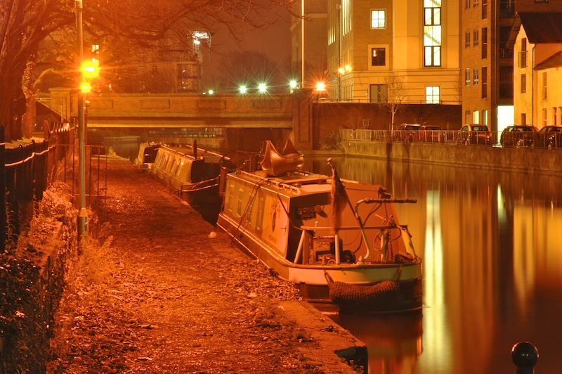 Narrowboats at night